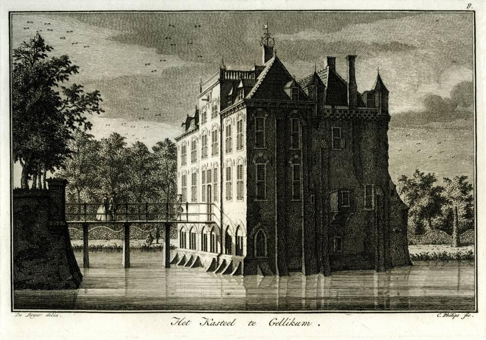 Kasteel Gellikum in Gellicum. Tekening Jan de Beijer, gravure C. Philips (Uit: Gezigten van voorname Hollandsche Dorpen,E.Maaskamp (?), ca. 1800)